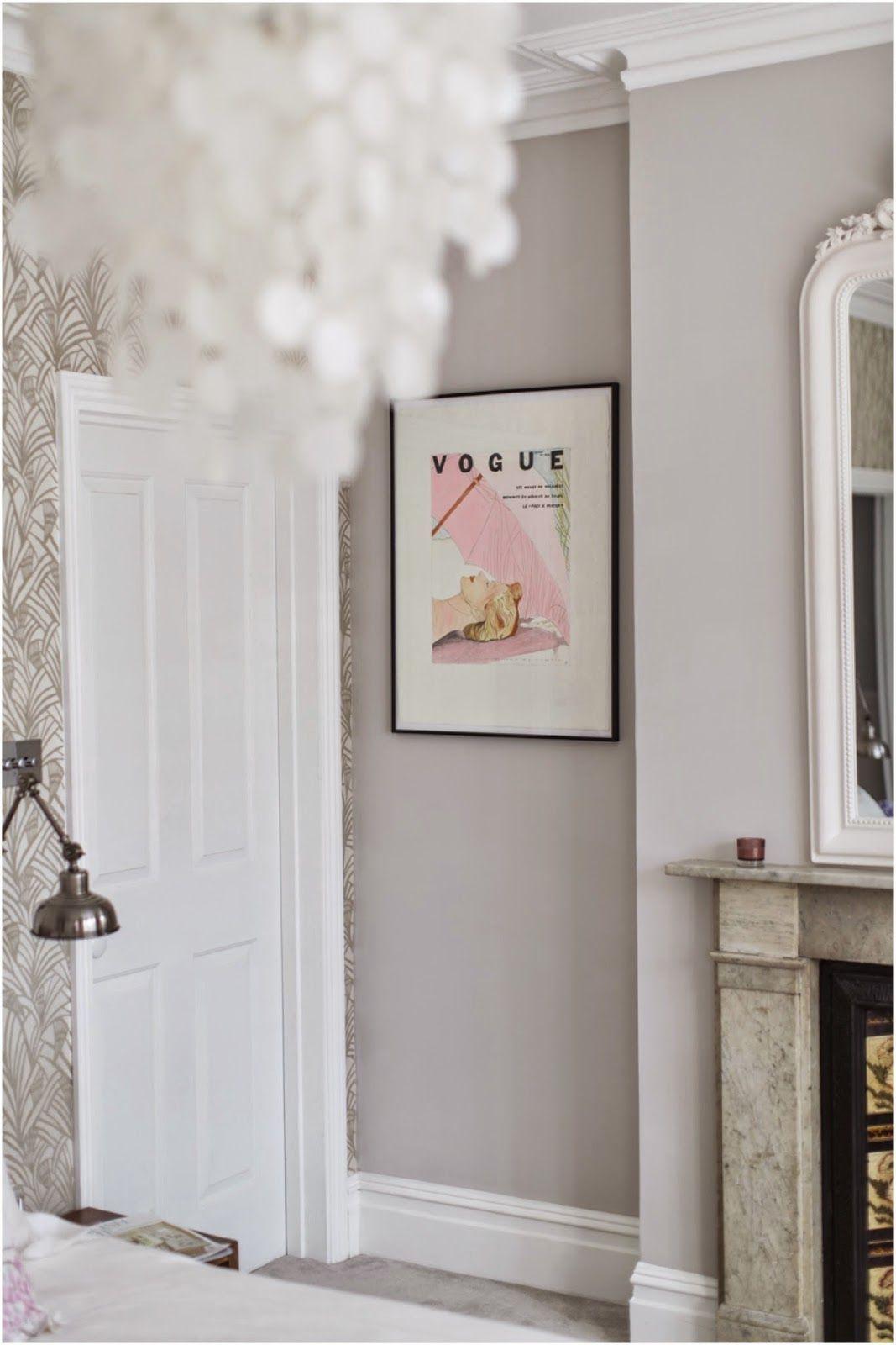bedroom complete! farrow & ball cornforth white walls, tapet cafe