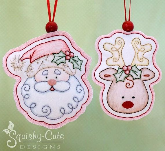 Reindeer hand embroidery pattern - crayon tinted - Christmas embroidery  design - Christmas ornament pattern -