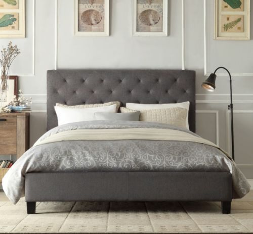 Chester double queen king size grey / white / charcoal fabric bed ...