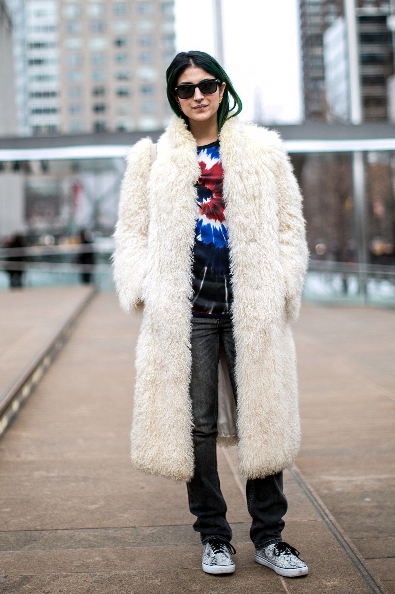 Preetma Singh channeled her inner '90s girl with a tie-dyed tee and furry topper.