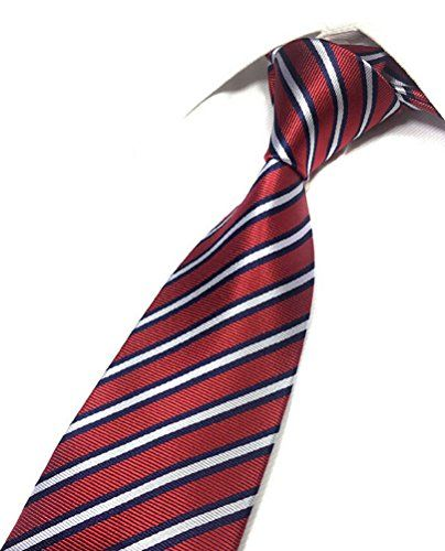 MOHSLEE Red White Blue Striped Business Neckties Classic Men Casual Tie Necktie