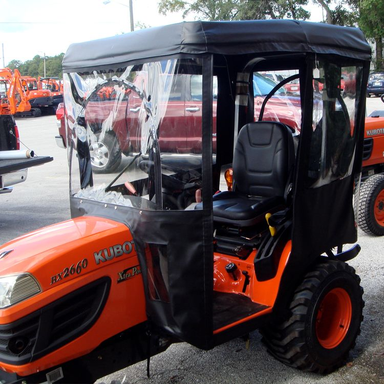 Tractor Cab Enclosure for Cub Cadet 7284 with Folding ROPS - black (Requires Canopy Kit) - Shown on Kubota Tractor : canopy for kubota tractor - memphite.com
