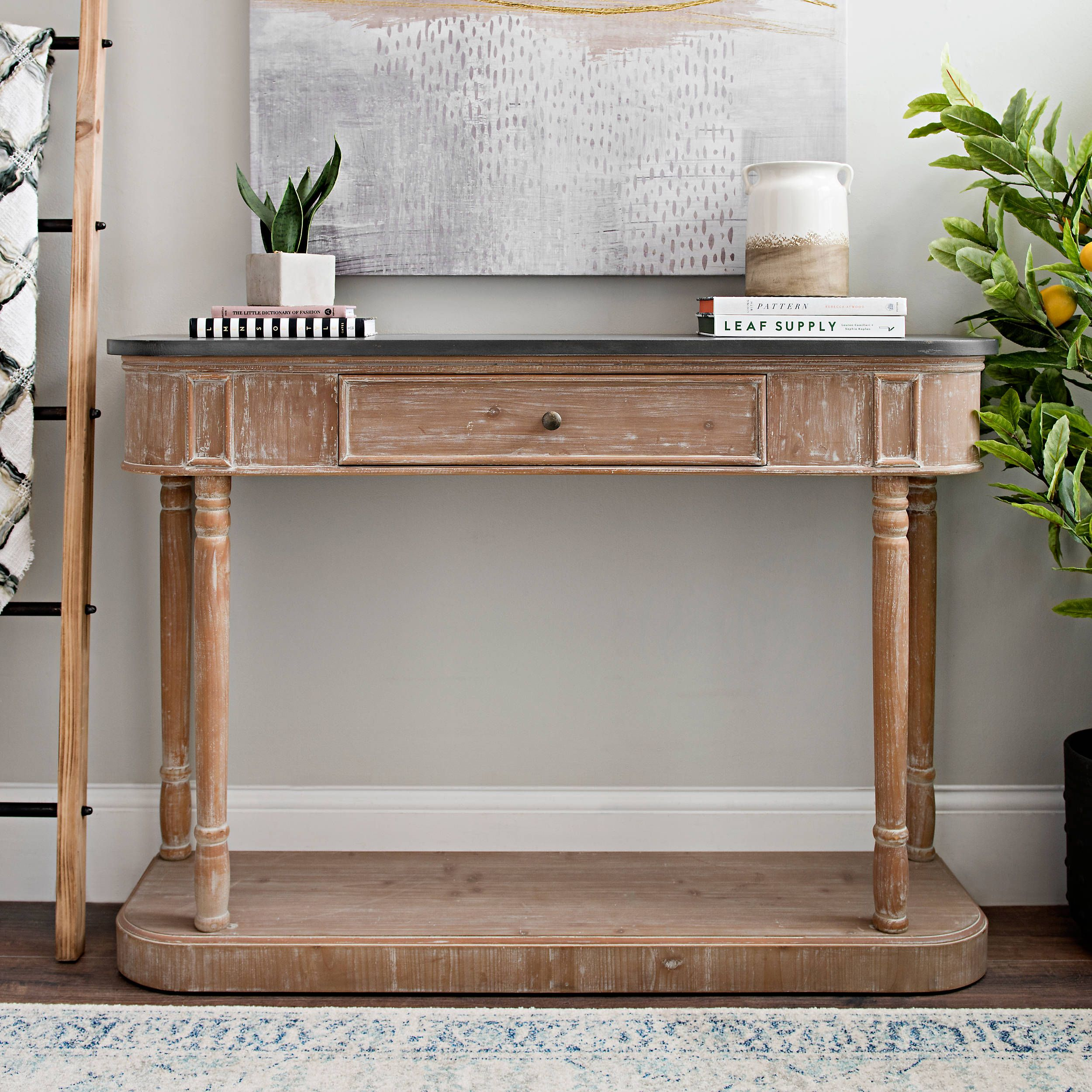 lisa demilune black and washed console table in 2020 on small entryway console table decor ideas make a statement with your home s entryway id=39590