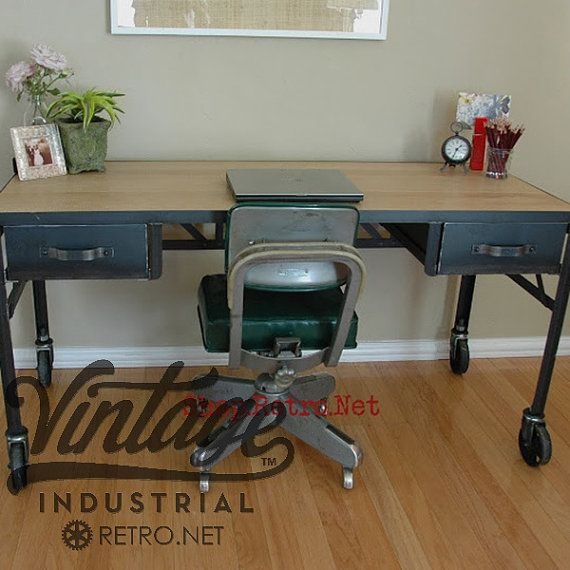 Mid-century Homework Vintage Office Modern Industrial Retro Vintage Riveted Top with Bookcase drawers Machinist Tool Desk