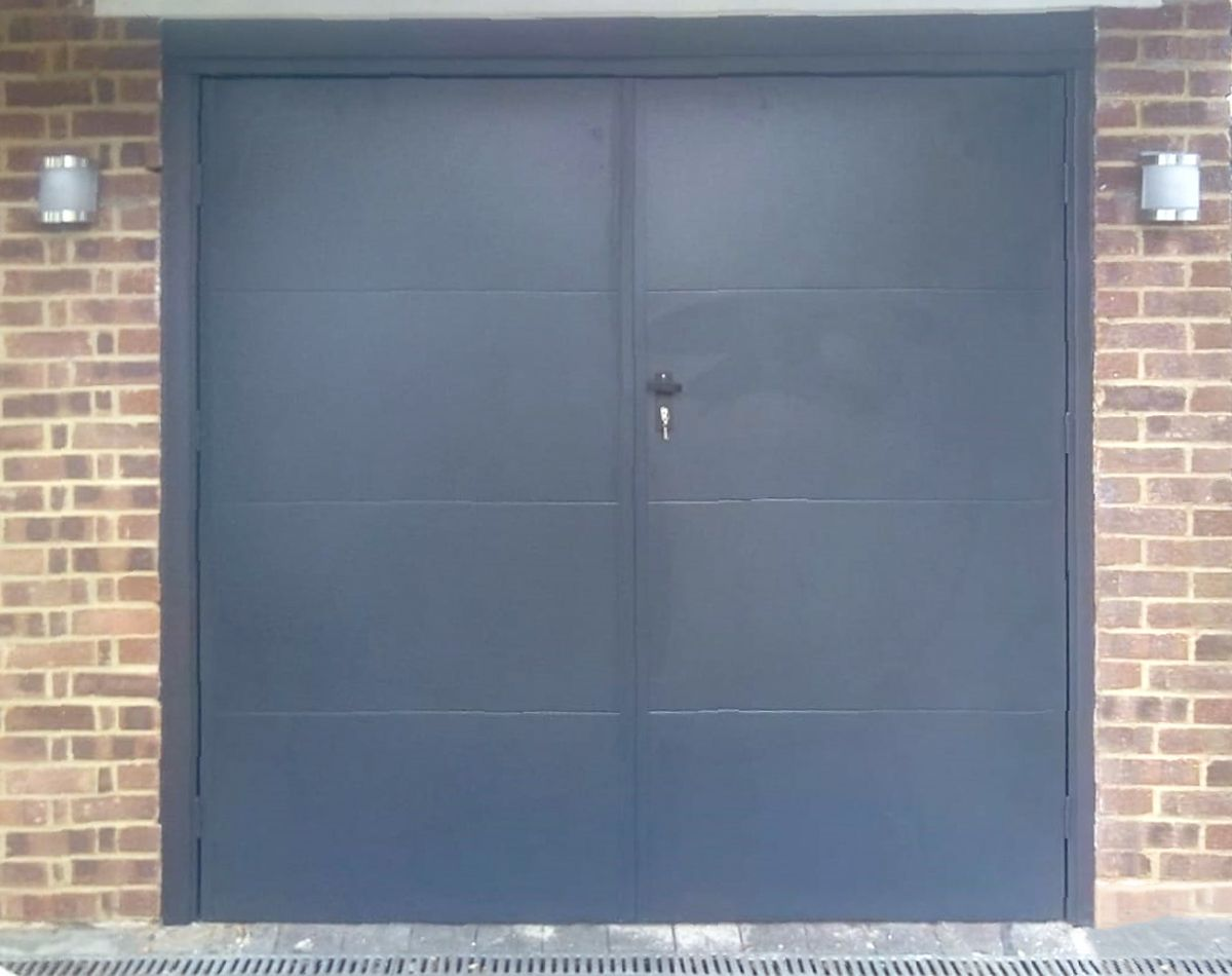 2 X Fort Large Horizontally Ribbed Side Hinged Garage Doors Side Hinged Garage Doors Garage Door Hinges Garage Doors