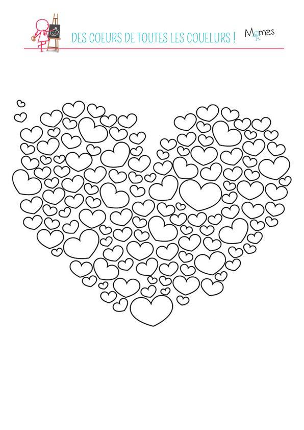 Coloriage Coeurs De Toutes Les Couleurs Coloriage Coeur