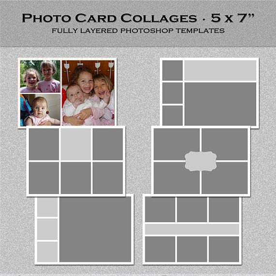 6 Photo Card Templates 5x7 Set 3 Instagram Collage Blog Board