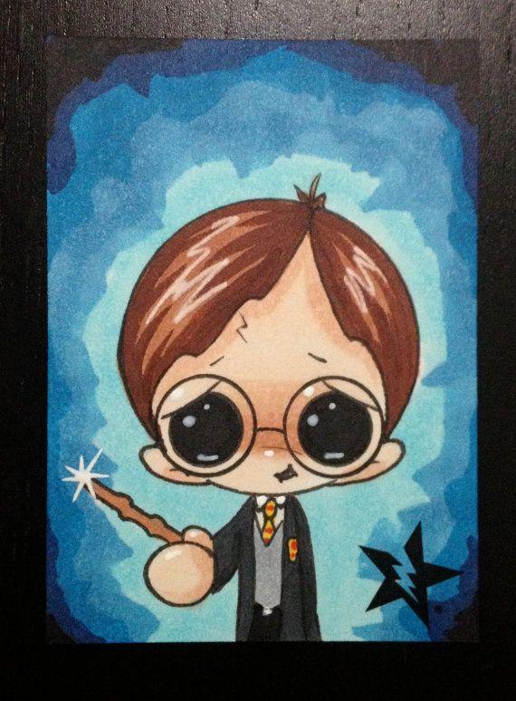 Sugar Fueled Harry Potter Gryffindor Wizard lowbrow creepy cute big eye ACEO mini print