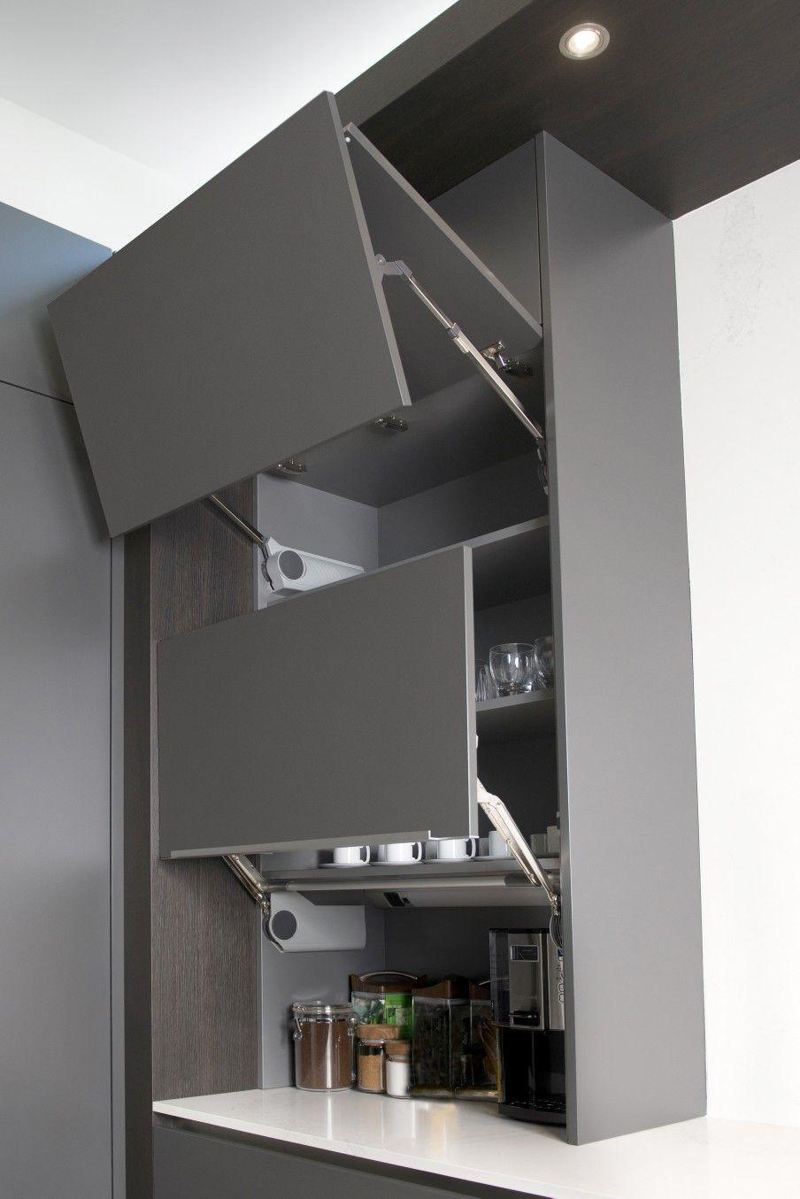 Eggersmann Usa Utilize Every Millimeter Storage Solutions Matte Grey Smoked Oak Kitchen Room Design Modern Kitchen Cabinets Modern Kitchen Design