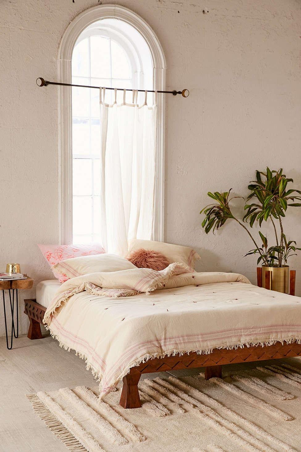 Eloisa Carved Wood Platform Bed Cozy dorm room, Wood