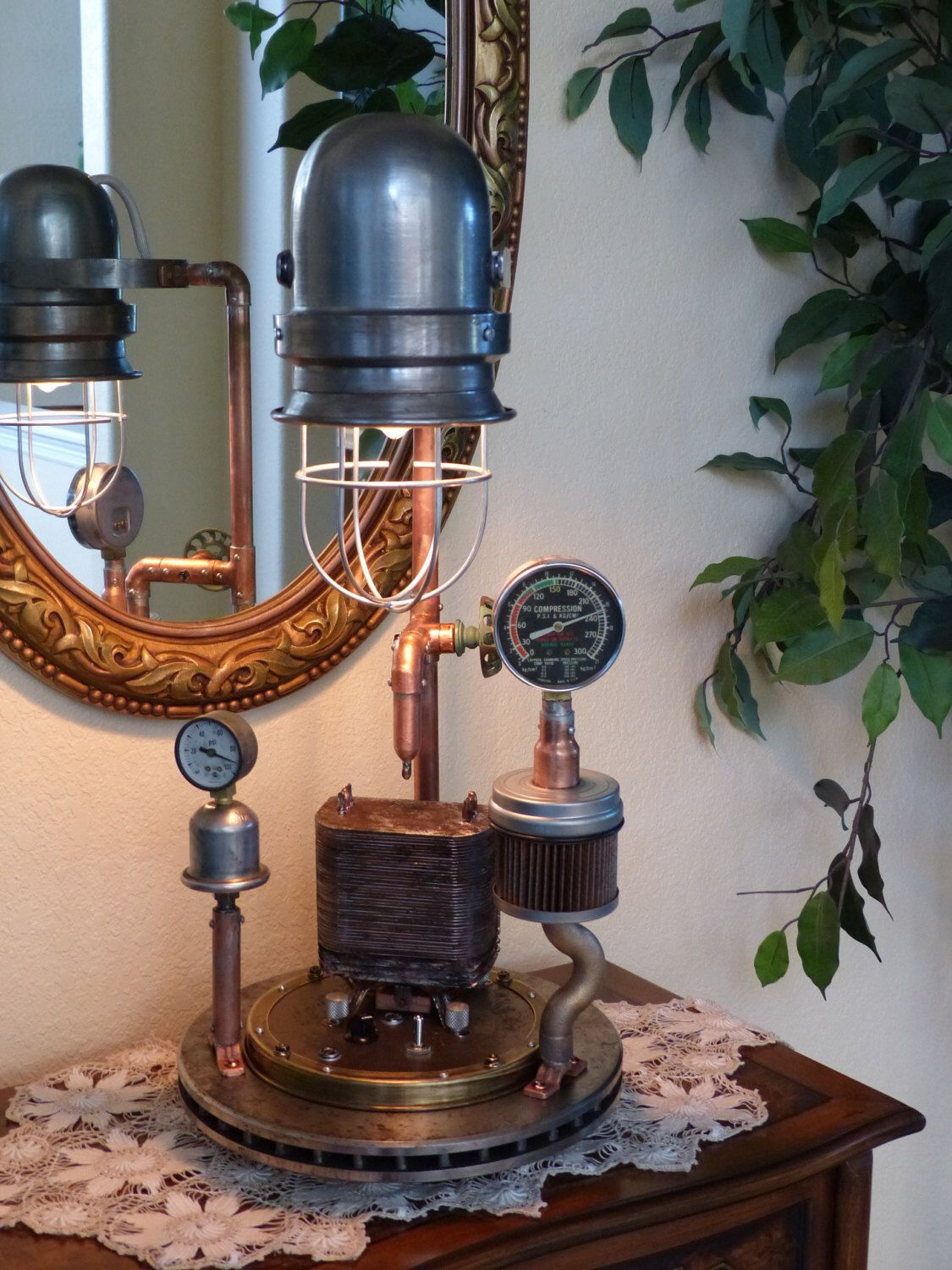 Steampunk, Lamp Art, Gauges, Copper, Brass, Lamp, Edison, Lighting, Gears, Art, MasterGreig - MG-324 by MasterGreig on Etsy https://www.etsy.com/listing/200585909/steampunk-lamp-art-gauges-copper-brass