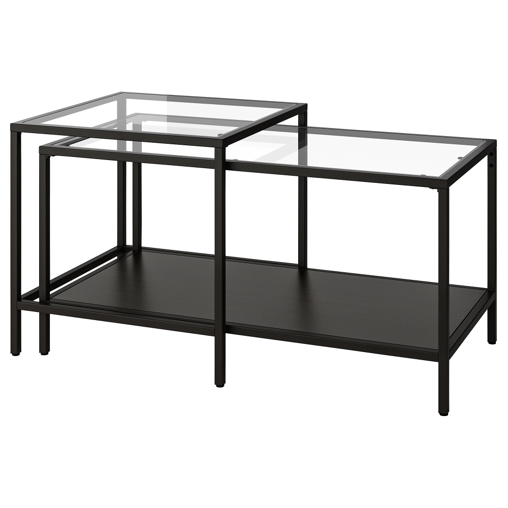 Vittsjo Nest Of Tables Set Of 2 Black Brown Glass Black Brown Glass 90x50 Cm Nesting Tables Glass Nesting Tables Coffee Table