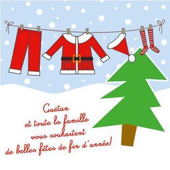 Carte de voeux   Noël   lessive Père Noël