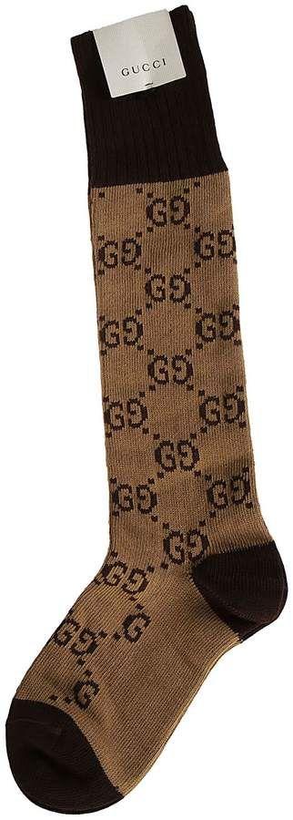 Gucci Gg Supreme Logo Cotton Blend Socks In 9764 Beige