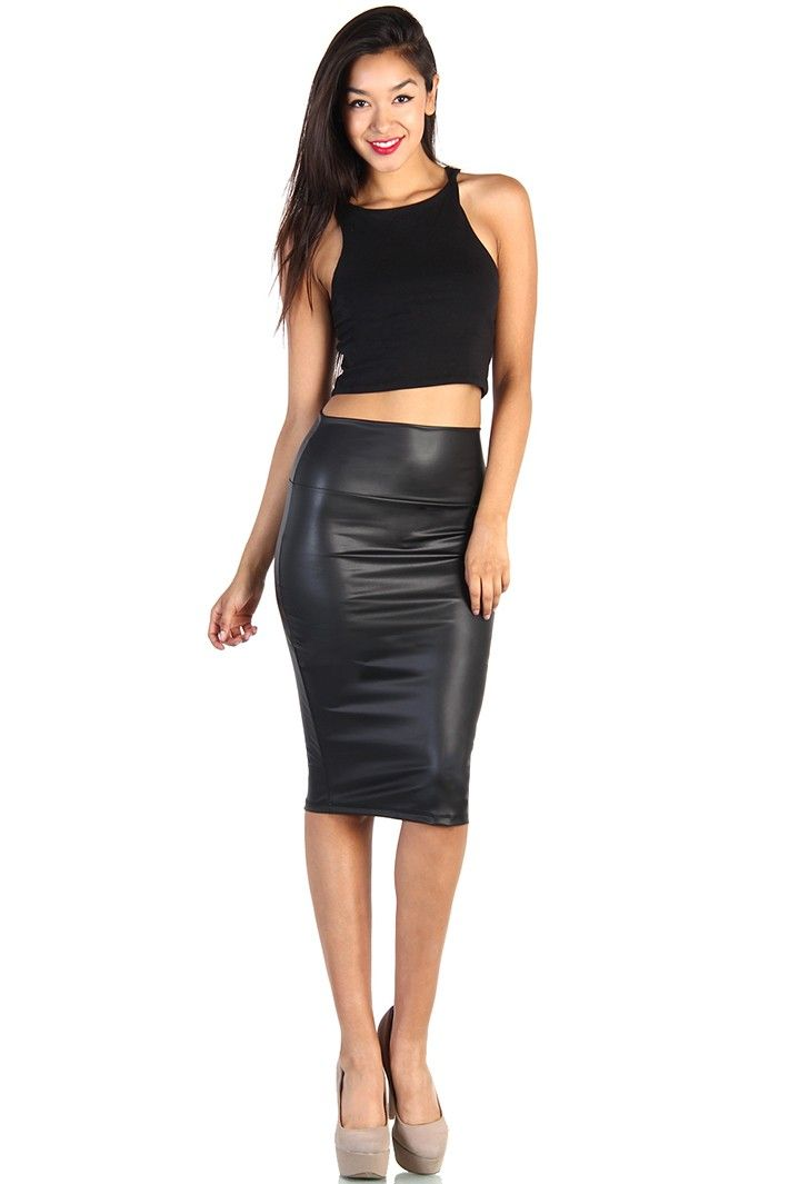 Knee Length Leather Skirt - Black | Pencilskirts | Pinterest ...