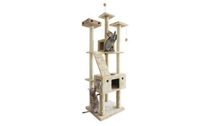 Cat Furniture Double Decker Playground Floor To Ceiling Ladder Or Skyscraper Playground Cat Trees Cat Tree House Cat Furniture Cat Playground