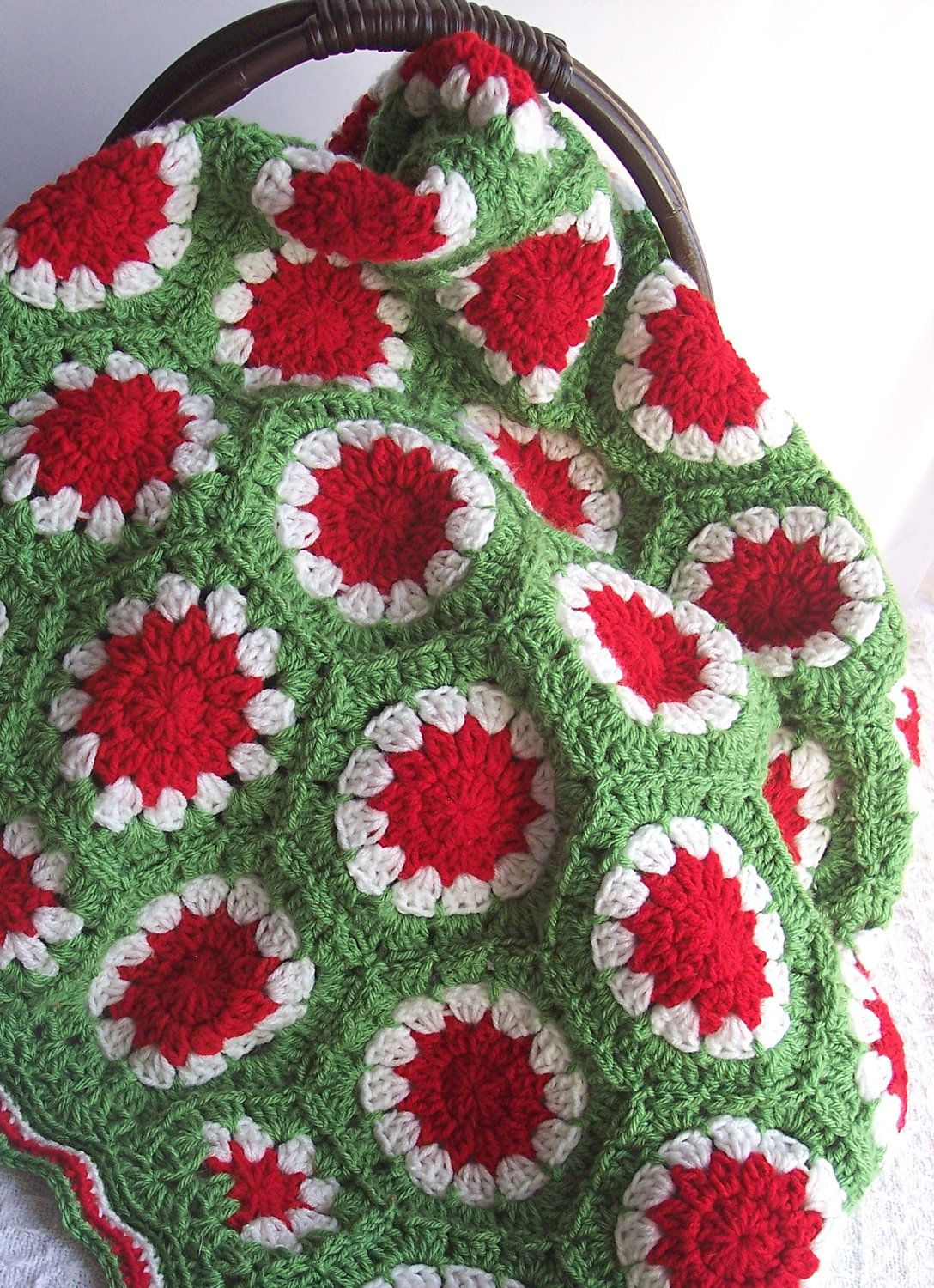 Red & Green Hexagon - Crochet Afghan Blanket - | Blanket and throw ...