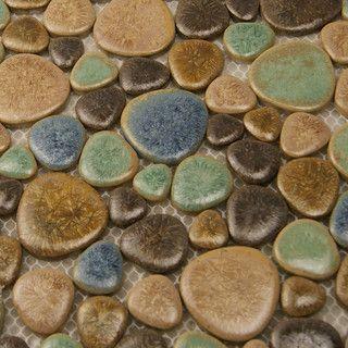 Porcelain Pebble Tile Sheets Kitchen Backsplash Tiles Floor Bathroom Mosaic Traditional