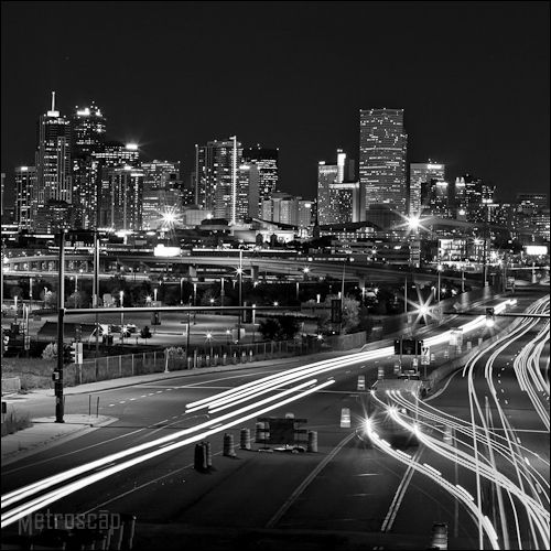 Black And White Photos Of The Denver Skyline At Night