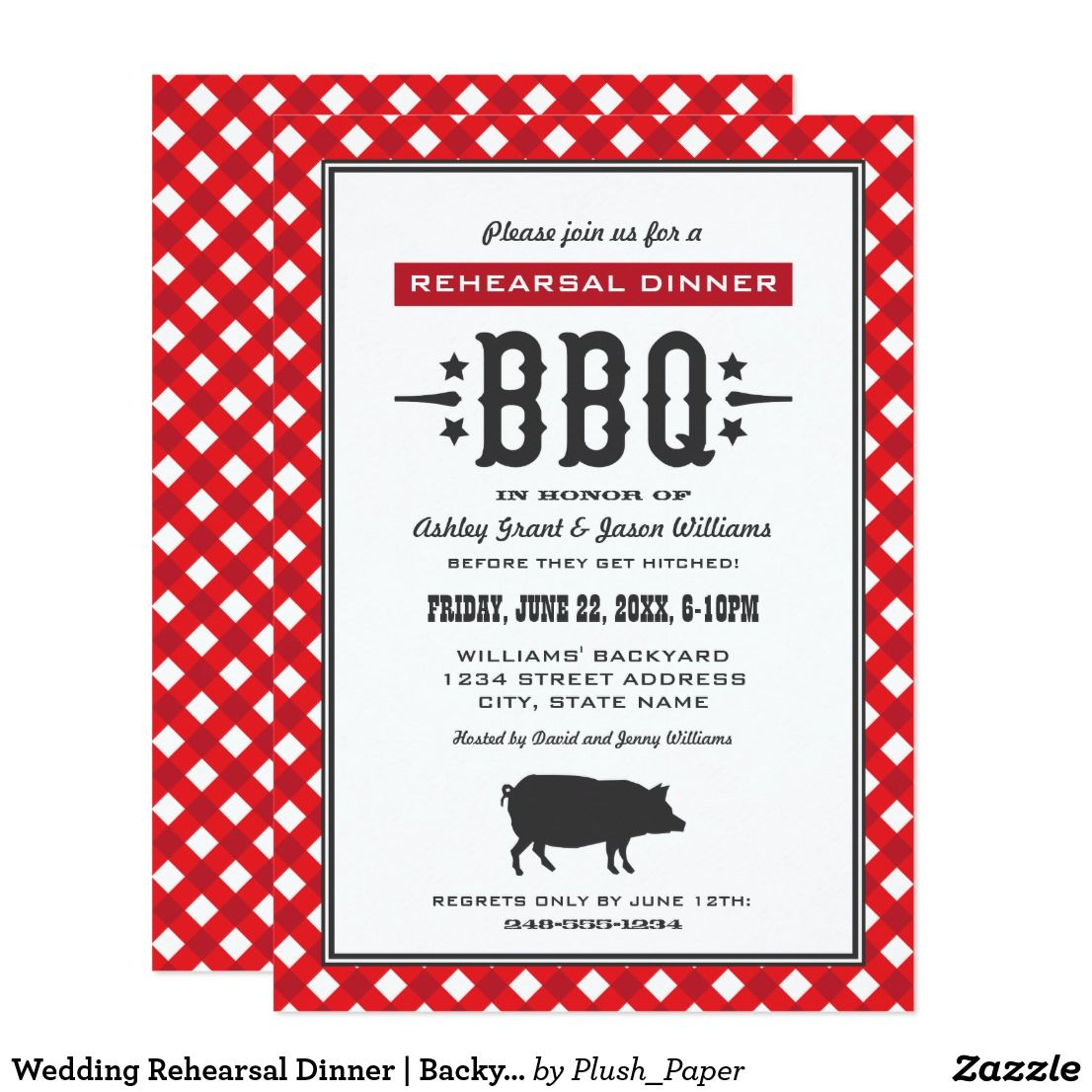 Wedding Rehearsal Dinner | Backyard BBQ Theme Card Casual BBQ ...