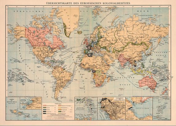 World map - Decorative map - Old wall map - Fine print on paper or on