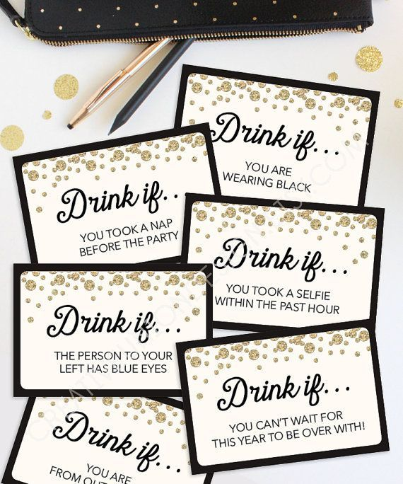 New Years Eve Game - Drink If Game - Printable New Year's Eve Game - New Years Eve Games - New Year's Eve Party Ideas - Drinking Game