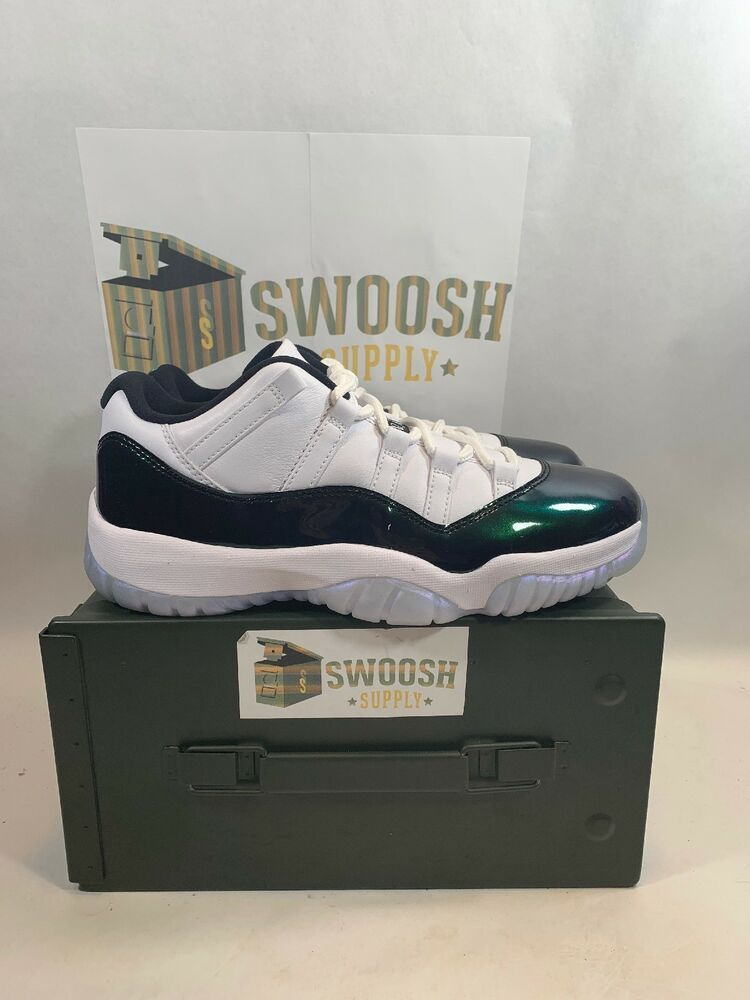 2a90c8815418c3 Nike Mens Air Jordan 11 Retro Low Easter White Emerald Rise 528895-145 Size  17  Nike  AthleticSneakers