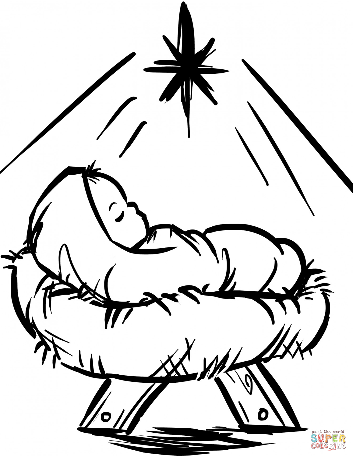Baby Jesus Manger Scene coloring page from Religious Christmas ...