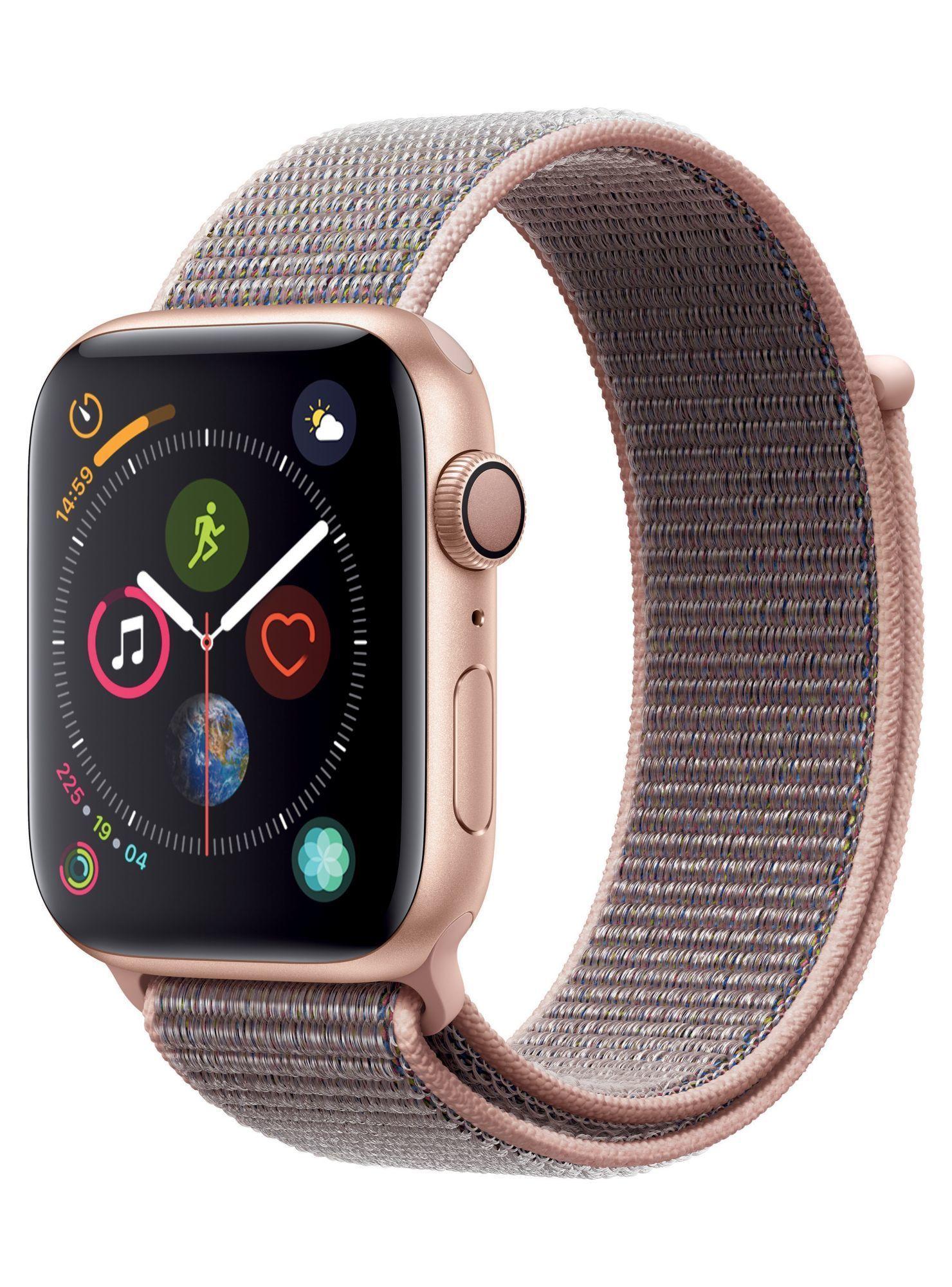 Apple Watch Series 4 Gps Caja Aluminio En Oro 44 Mm Y Correa Loop Deportiva Rosa Arena Smartwatch Y Apple Watch Correas Apple Watch Accesorios Para Iphone