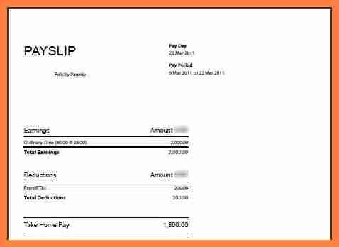Simple Business Monthly Payslip Template Page For Ms Word Or Excel