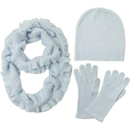 Women's Gift Box Soft Knit Ruffle Scarf, Hat and Glove Set, Blue