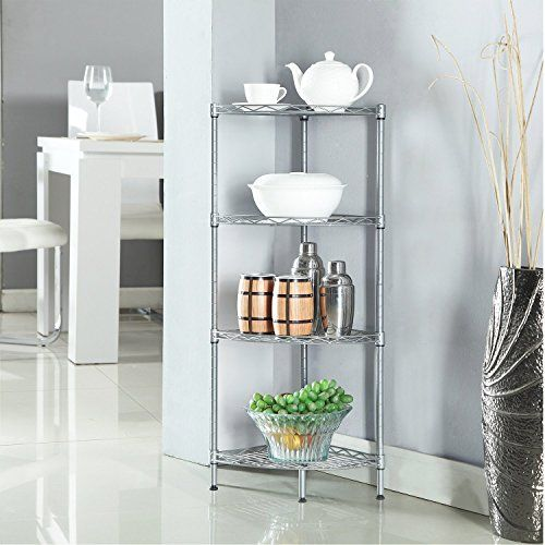 HOMFA 4Tire Wire Corner Storage Shelves Free Standing Bathroom ...