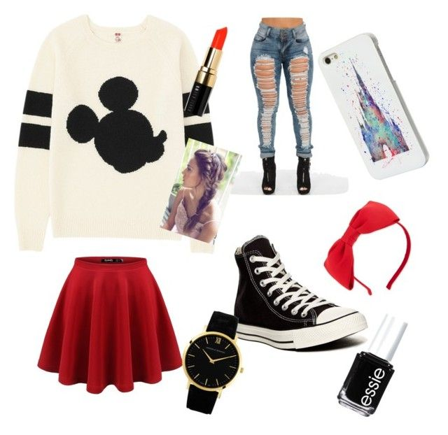 """""""Mickey and Minnie Mouse"""" by sydrocks2 ❤ liked on Polyvore featuring Uniqlo, Converse, Disney, Kate Spade, Larsson & Jennings, Essie and Bobbi Brown Cosmetics"""