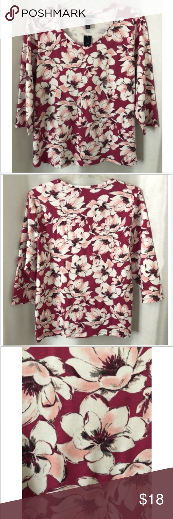 7a0c91cfa782a Tall Women · Karen Scott NWT Knit Top Floral Pink 3 4 Sleeves Nice