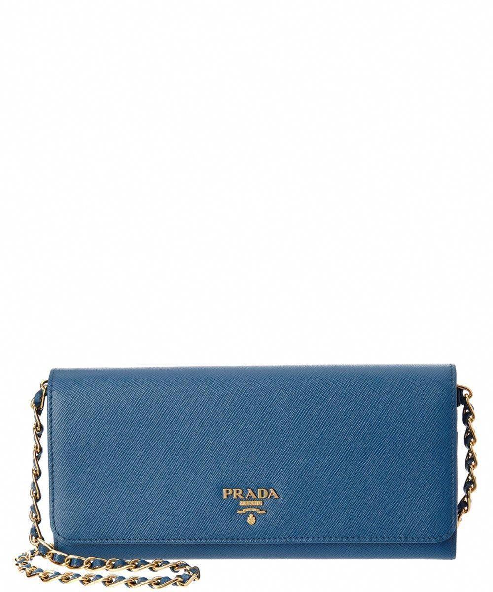 a4cd29abfb16 PRADA Prada Blue Saffiano Leather Wallet On Chain'. #prada #handbags  #Pradahandbags. Visit. December 2018