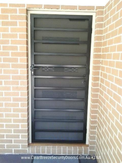 Black Mildura Steel Security Door With Privacy Mesh