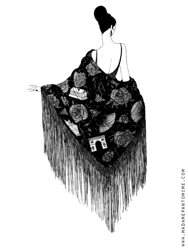 Free Printable Adult Or Child Coloring Sheet Page Fashion Illustration 1920s Flapper Girl Woman In Pretty Dress Flamenco Shawl