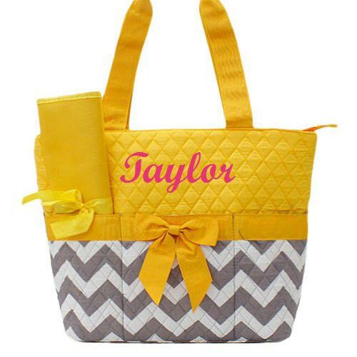 A personal favorite from my Etsy shop https://www.etsy.com/listing/270467270/baby-girl-diaper-bag-yellow-grey-chevron