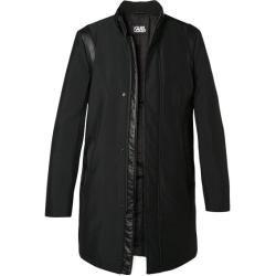 Karl Lagerfeld Herren Mantel Coat, Mikrofaser, schwarz Karl Lagerfeld