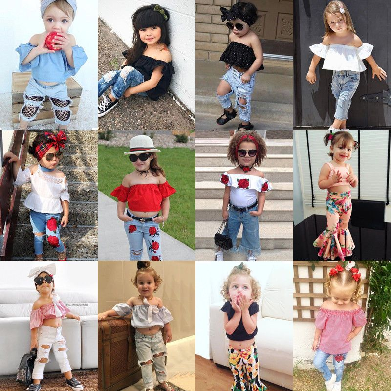 Canis Toddler Kids Baby Girls 3D Flower Off Shoulder Tops Denim Pants Outfit Set