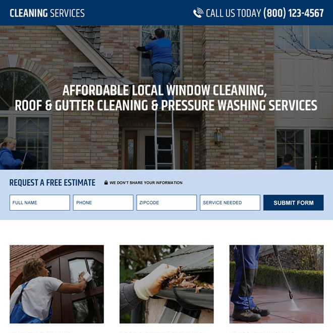 pressure washing service company lead capture landing page design - cleaning services resume