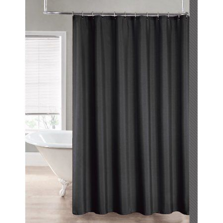 2 In 1 Water Repellant 70 X 72 Polyester Fabric Shower Curtain Liner Gray