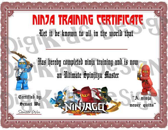 Lego Ninjago Birthday Ninja Training Certificate by DigiKidsDesign - free training certificates