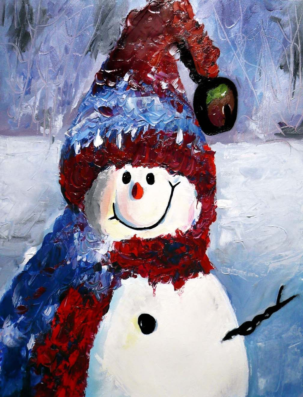 Snowman Paintings On Canvas | Happy snowman | Canvas ...