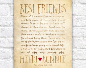 custom letter for best friend art friendship poem birthday or thank you gift bff friend art personalized friends miss you wf323