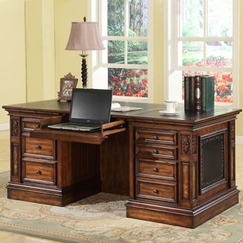 Double Pedestal Executive Desk #homeoffice | National Business Furniture