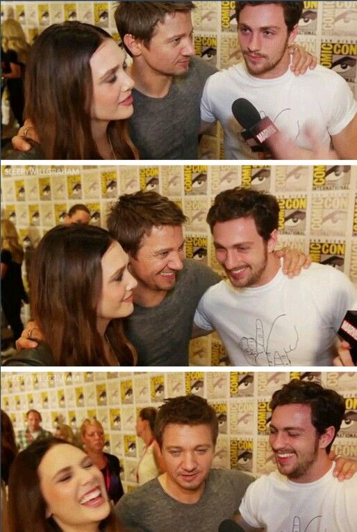 Elizabeth Olsen Aaron Taylor Johnson And Jeremy Renner With