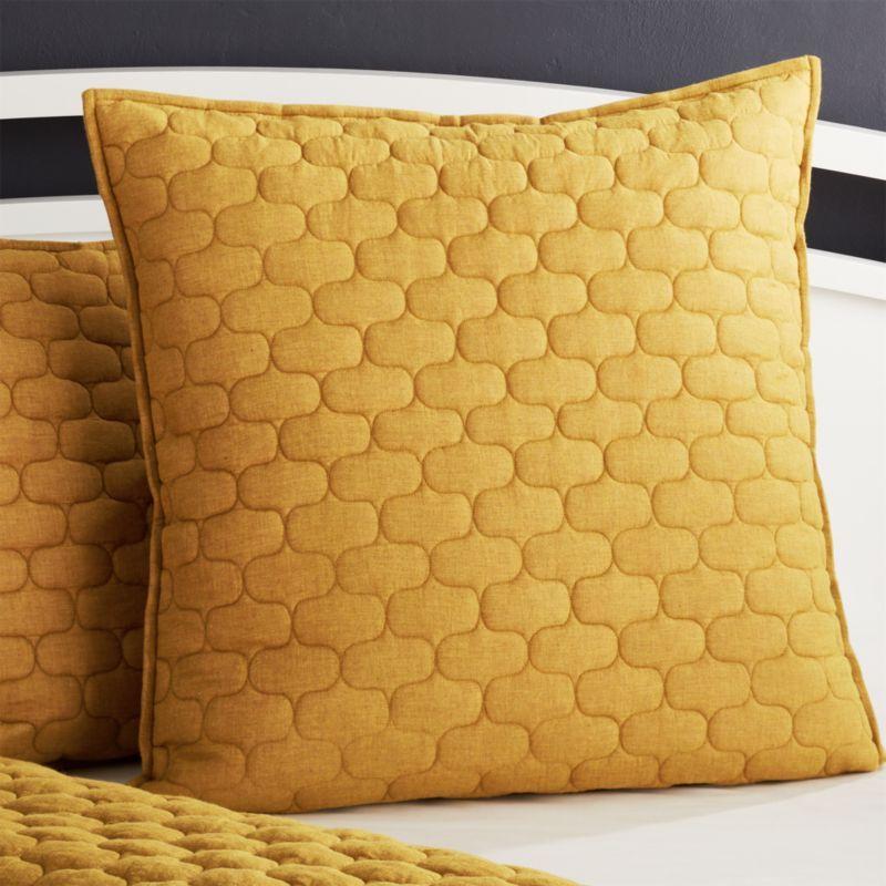 Fontaine Mustard Yellow Cotton Euro Sham Mustard Bedding Yellow Bedding Linen Bedding