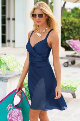 fabd48d9044 Sarong Swimsuit By Carol Wior | Clothes | Swimsuits, Dresses, Sarong ...