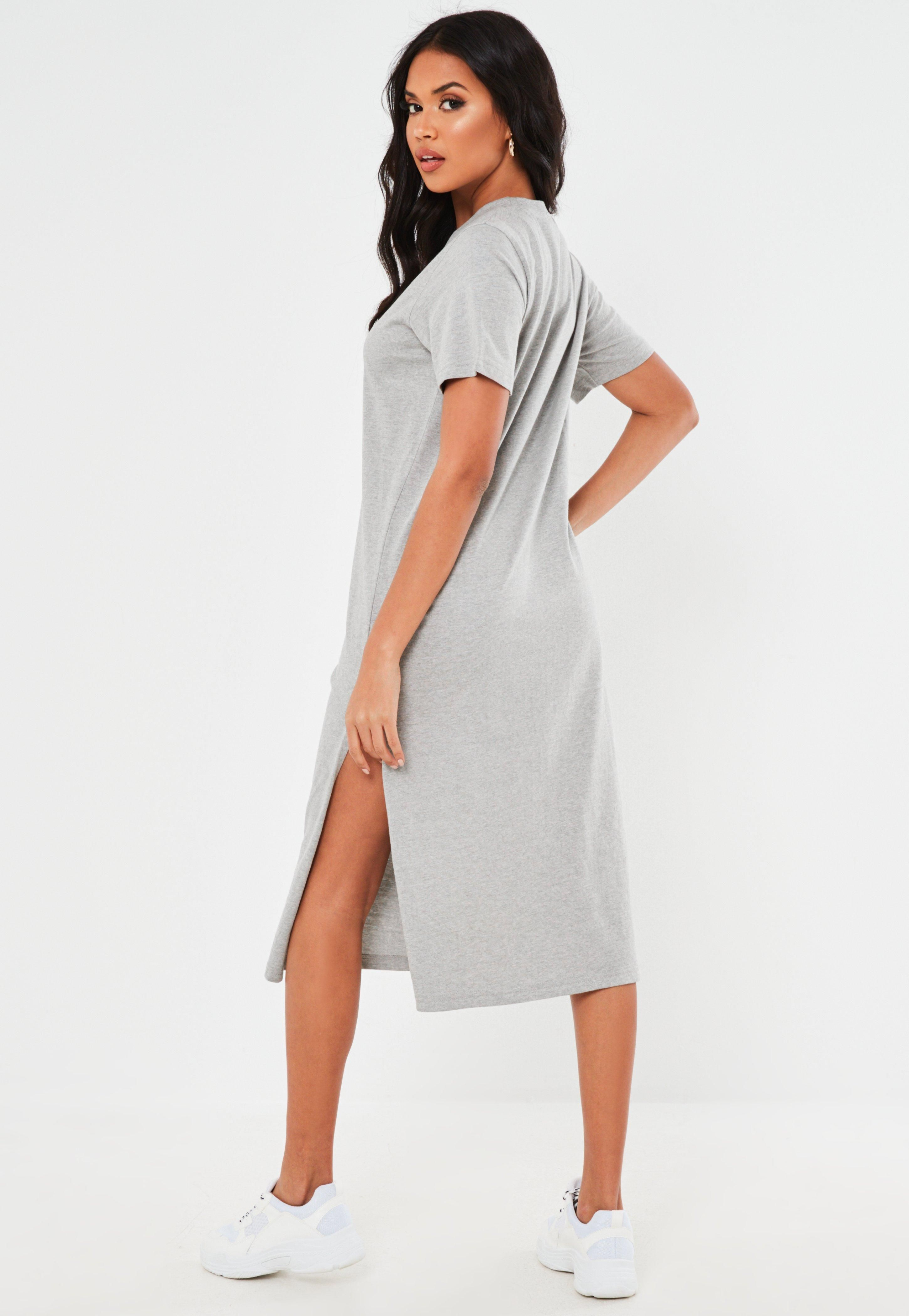 Missguided Gray Basic T Shirt Midi Dress Midi Shirt Dress T Shirt Midi Dress Midi Dress [ 4200 x 2900 Pixel ]